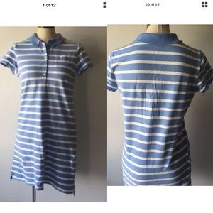 Land's End stripped petite dress top size 10-12